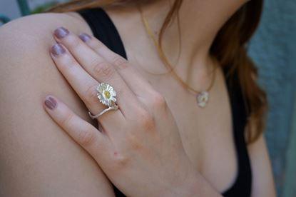 Daisy Ring, silver ring, adjustable