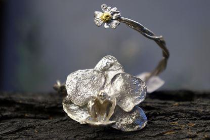 Adjustable Bracelet, Silver Bracelet, Orchid Flower