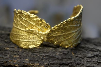 Hibiscus Leaf Bracelet, Silver Bracelet, Gold plated, Mother nature